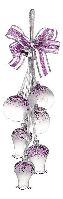 Елочная игрушка АРТИ-МЕлочные игрушки<br>Артикул - art_860-313,Бренд - АРТИ-М (Россия),Коллекция - Воздушная,Высота, мм - 400,Цвет - белый, фиолетовый,Материал - стекло<br>