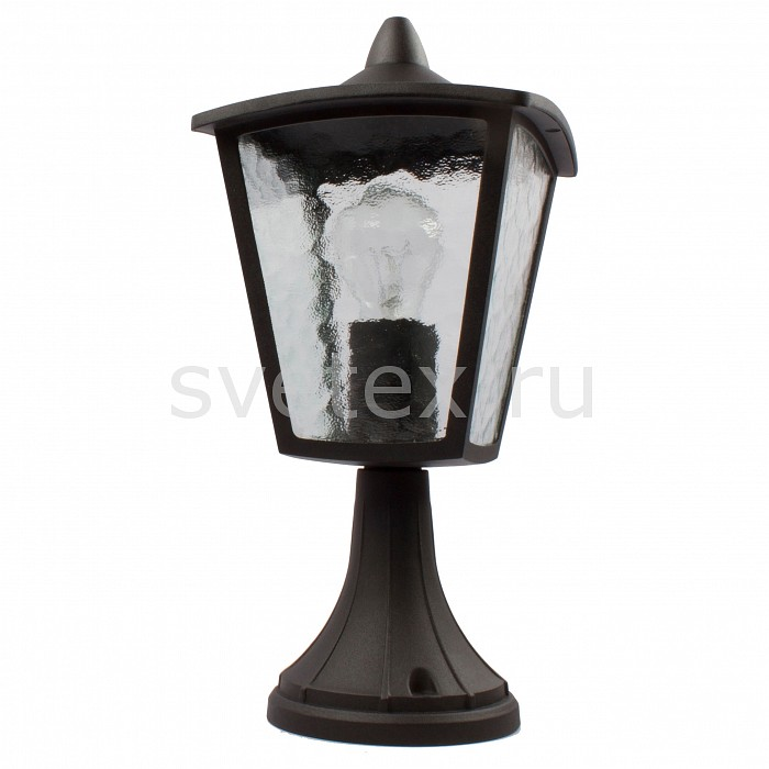 Наземный низкий светильник FavouriteСветильники<br>Артикул - FV_1817-1T,Бренд - Favourite (Германия),Коллекция - Colosso,Гарантия, месяцы - 24,Время изготовления, дней - 1,Ширина, мм - 180,Высота, мм - 420,Выступ, мм - 180,Тип лампы - компактная люминесцентная [КЛЛ] ИЛИнакаливания ИЛИсветодиодная [LED],Общее кол-во ламп - 1,Напряжение питания лампы, В - 220,Максимальная мощность лампы, Вт - 60,Лампы в комплекте - отсутствуют,Цвет плафонов и подвесок - неокрашенный,Тип поверхности плафонов - прозрачный, рельефный,Материал плафонов и подвесок - стекло,Цвет арматуры - черный,Тип поверхности арматуры - матовый,Материал арматуры - металл,Количество плафонов - 1,Тип цоколя лампы - E27,Класс электробезопасности - I,Степень пылевлагозащиты, IP - 44,Диапазон рабочих температур - от -40^С до +40^C<br>