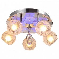 Накладной светильник IDLampСветодиодные<br>Артикул - ID_200_5PF-Chrome,Бренд - IDLamp (Италия),Коллекция - 200,Высота, мм - 200,Диаметр, мм - 460,Тип лампы - компактная люминесцентная [КЛЛ] ИЛИнакаливания ИЛИсветодиодная [LED],Общее кол-во ламп - 5,Напряжение питания лампы, В - 220,Максимальная мощность лампы, Вт - 60,Лампы в комплекте - отсутствуют,Цвет плафонов и подвесок - белый с рисунком, неокрашенный,Тип поверхности плафонов - матовый, прозрачный,Материал плафонов и подвесок - стекло,Цвет арматуры - хром,Тип поверхности арматуры - глянцевый,Материал арматуры - металл,Тип цоколя лампы - E14,Класс электробезопасности - I,Общая мощность, Вт - 300,Степень пылевлагозащиты, IP - 20,Диапазон рабочих температур - комнатная температура,Дополнительные параметры - поворотный светильник декорирован RGB светодиодами, способ крепления светильника к потолку – на монтажной пластине<br>