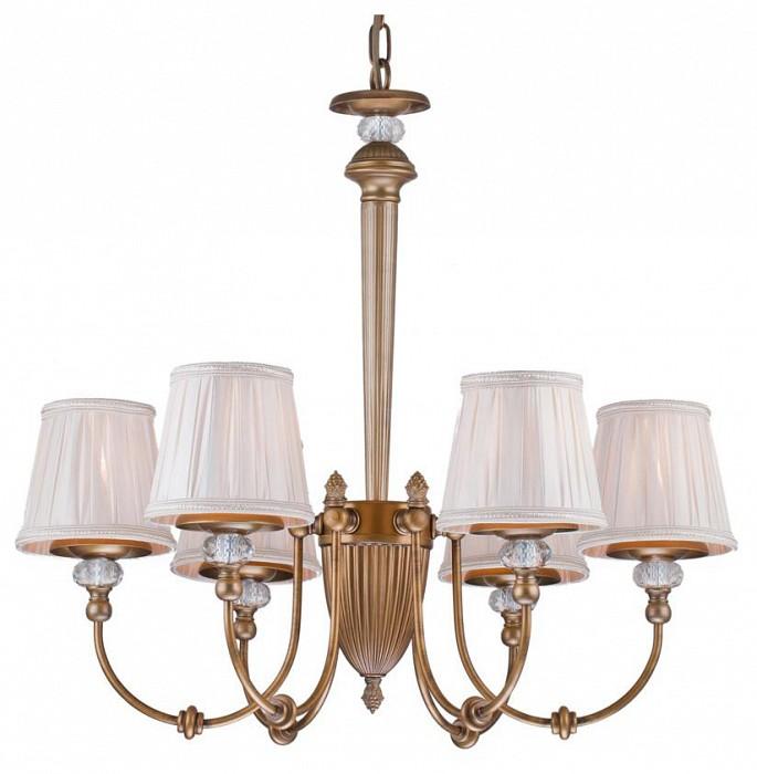 Подвесная люстра Arti LampadariСветильники<br>Артикул - AL_Roana_E_1.1.6_AG,Бренд - Arti Lampadari (Италия),Коллекция - Roana,Гарантия, месяцы - 24,Высота, мм - 500,Диаметр, мм - 680,Тип лампы - компактная люминесцентная [КЛЛ] ИЛИнакаливания ИЛИсветодиодная [LED],Общее кол-во ламп - 6,Напряжение питания лампы, В - 220,Максимальная мощность лампы, Вт - 40,Лампы в комплекте - отсутствуют,Цвет плафонов и подвесок - белый,Тип поверхности плафонов - матовый, рельефный,Материал плафонов и подвесок - текстиль,Цвет арматуры - золото античное, неокрашенный,Тип поверхности арматуры - матовый, прозрачный, рельефный,Материал арматуры - металл, хрусталь,Количество плафонов - 6,Возможность подлючения диммера - можно, если установить лампу накаливания,Тип цоколя лампы - E14,Класс электробезопасности - I,Общая мощность, Вт - 240,Степень пылевлагозащиты, IP - 20,Диапазон рабочих температур - комнатная температура,Дополнительные параметры - способ крепления светильника к потолку - на крюке, указана высота светильника без подвеса<br>