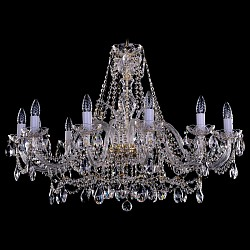 Подвесная люстра Bohemia Ivele CrystalБолее 6 ламп<br>Артикул - BI_1411_12_360-66_G,Бренд - Bohemia Ivele Crystal (Чехия),Коллекция - 1411,Гарантия, месяцы - 12,Высота, мм - 680,Диаметр, мм - 1000,Размер упаковки, мм - 640x640x320,Тип лампы - компактная люминесцентная [КЛЛ] ИЛИнакаливания ИЛИсветодиодная [LED],Общее кол-во ламп - 12,Напряжение питания лампы, В - 220,Максимальная мощность лампы, Вт - 40,Лампы в комплекте - отсутствуют,Цвет плафонов и подвесок - неокрашенный,Тип поверхности плафонов - прозрачный,Материал плафонов и подвесок - хрусталь,Цвет арматуры - золото, неокрашенный,Тип поверхности арматуры - глянцевый, прозрачный,Материал арматуры - металл, стекло,Возможность подлючения диммера - можно, если установить лампу накаливания,Форма и тип колбы - свеча ИЛИ свеча на ветру,Тип цоколя лампы - E14,Класс электробезопасности - I,Общая мощность, Вт - 480,Степень пылевлагозащиты, IP - 20,Диапазон рабочих температур - комнатная температура,Дополнительные параметры - способ крепления светильника к потолку – на крюке<br>